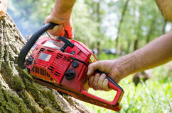 Man using a two-stroke petrol chainsaw Stock Photos