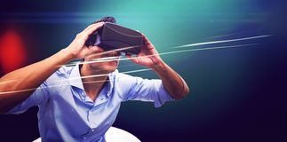 Man using a virtual reality device royalty free stock photo