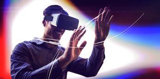 Man using a virtual reality device stock photography