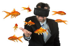 Man Using Virtual Reality Glasses Stock Photo