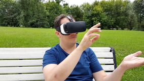 Man using virtual reality glasses stock footage