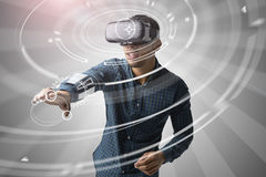 Man Using Virtual Reality Headset Royalty Free Stock Image