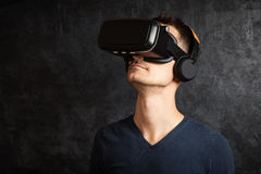 Man using VR goggles Royalty Free Stock Image