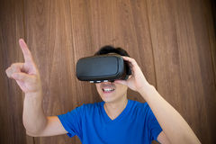 Man using VR headset glasses Stock Photos