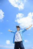 Man using VR headset glasses. Smile happy man getting experience using VR-headset glasses of virtual reality with sky and cloud background, asian male Stock Photos