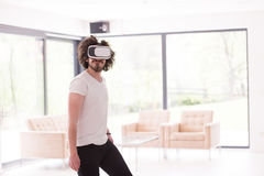 Man using VR-headset glasses of virtual reality Royalty Free Stock Photography