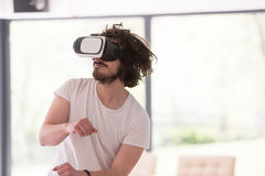 Man using VR-headset glasses of virtual reality Royalty Free Stock Image