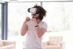 Man using VR-headset glasses of virtual reality Royalty Free Stock Photos