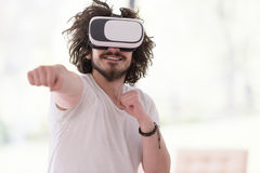 Man using VR-headset glasses of virtual reality Stock Image