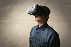 Man using vr. Man wearing virtual reality glasses Royalty Free Stock Photos