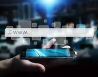 Man using web address bar to surf on internet Stock Images