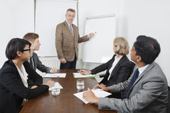 Man using whiteboard in business meeting Stock Photo