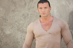 Man in a v-neck shirt Stock Photography