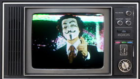 Man with v for vendetta mask stock video footage