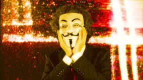 Man with v for vendetta mask stock footage