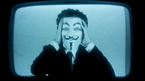 Man with v for vendetta mask stock video