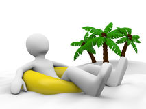 Man on vacation lying on the swim ring. Isolated rendered 3D image with a man lying on the swim ring (pool tube) with a tropical island with palms on a Stock Photos