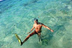 Man on vacation swimming in the sea Royalty Free Stock Photography