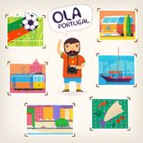 Man on vacation taking pictures of various sights of Portugal. Vector greeting poster Stock Photos