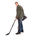 Man with vacuuim cleaner, full lenght Stock Photos