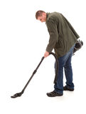 Man with vacuuim cleaner, full lenght Stock Image