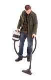 Man with vacuuim cleaner, full lenght Royalty Free Stock Photos