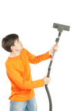 Man with vacuum Royalty Free Stock Image