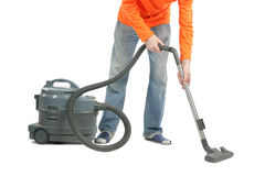 Man with vacuum Royalty Free Stock Photography