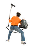 A Man With The Vacuum-cleaner Royalty Free Stock Photo