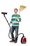 Man with vacuum cleaner Royalty Free Stock Photography