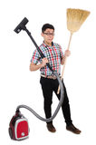 Man with vacuum cleaner Royalty Free Stock Photo