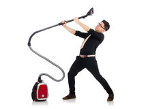 Man with vacuum cleaner Stock Image