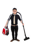 Man with vacuum cleaner Royalty Free Stock Image