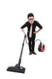 Man with vacuum cleaner Stock Photography