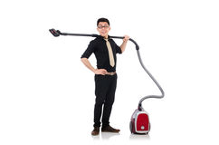 Man with vacuum cleaner Stock Photos