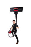 Man with vacuum cleaner Royalty Free Stock Photos