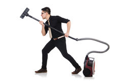 Man with vacuum cleaner isolated Royalty Free Stock Image