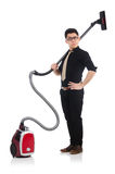 Man with vacuum cleaner Royalty Free Stock Images