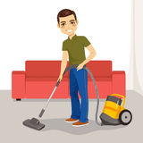 Man Vacuum Cleaner Stock Photography
