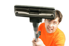Man with vacuum closeup Royalty Free Stock Images
