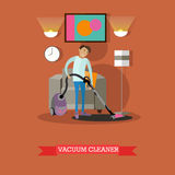 Man vacuuming floor in his room. Cleaning service concept vector illustration. Royalty Free Stock Photography
