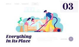 Man Vacuuming Floor, Pregnant Woman with Big Belly Reading on Couch. Family Waiting Baby, Couple Husband and Wife Clean Home. Website Landing Page, Web Page vector illustration