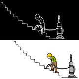 Man Vacuuming The Stairs. An image of a man vacuuming the stairs Stock Photo