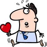 Man with valentine card cartoon illustration. Cartoon St Valentines Illustration of Late Running Man in Love with Heart or Valentine Card Stock Photos