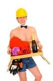 Man valentine champagne Stock Photography