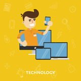 Man with a variety of gadgets laptop tablet Stock Image