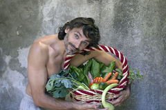 Man with vegetables Royalty Free Stock Photos