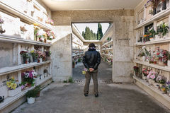 Man in the Verano cemetery Royalty Free Stock Photography