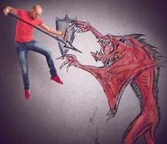 Man versus evil. Men with shield and spear defeats evil royalty free illustration