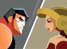 Man versus woman. Danger Conflict. Superheroes. Royalty Free Stock Photos